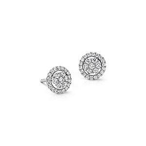 Boucles d'oreilles diamant florales Monique Lhuillier en or blanc 18carats (1/2carat, poids total)