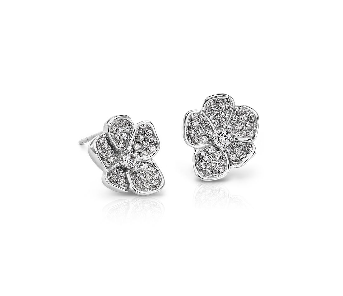 Monique Lhuillier Fl Diamond Stud Earrings In 18k White Gold 7 8 Ct Tw