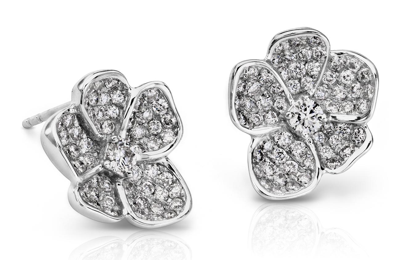 Boucles d'oreilles diamant goutte Monique Lhuillier en or blanc 18carats (4/5carats, poids total)