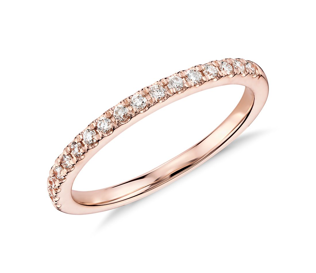 Bague en diamants sertis pavé Monique Lhuillier en or rose 18 carats