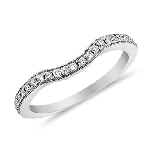 Monique Lhuillier Curved Pavé Diamond Ring in Platinum