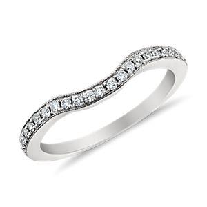 Monique Lhuillier Curved Pavé Diamond Ring in Platinum