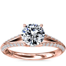 Monique Lhuillier Siren Pave Split Shank Diamond Engagement Ring in 18k Rose Gold (1/3 ct. tw.)
