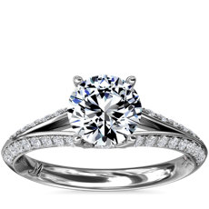 Monique Lhuillier Siren Pave Split Shank Diamond Engagement Ring in Platinum (1/3 ct. tw.)