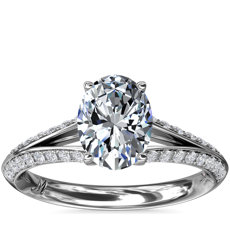 NEW Monique Lhuillier Siren Oval Pave Split Shank Diamond Engagement Ring in Platinum (1/3 ct. tw.)