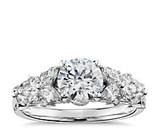 Monique Lhuillier Petal Garland Diamond Engagement Ring in Platinum (1/2 ct. tw.)