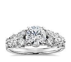 Monique Lhuillier Petal Garland Diamond Engagement Ring in Platinum