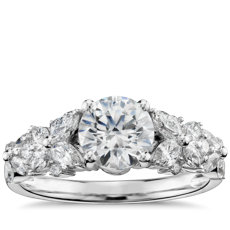 Monique Lhuillier Petal Garland Diamond Engagement Ring in Platinum