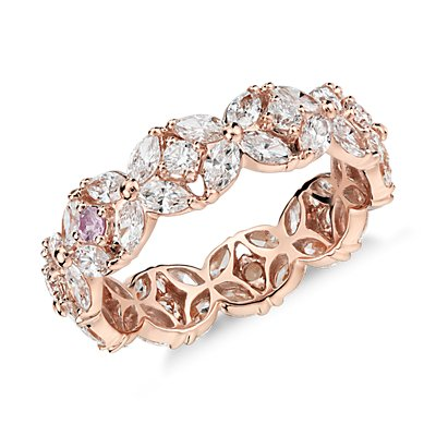 18k 玫瑰金 Monique Lhuillier 花瓣花環鑽石永恆戒指(2 克拉總重量)