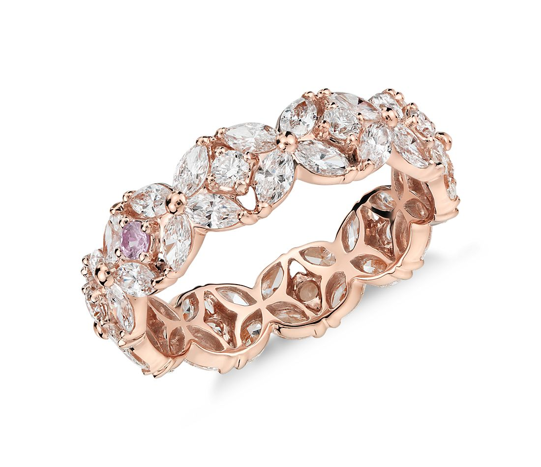 Bague d'éternité diamant pétale guirlande Monique Lhuillier en or rose 18 carats