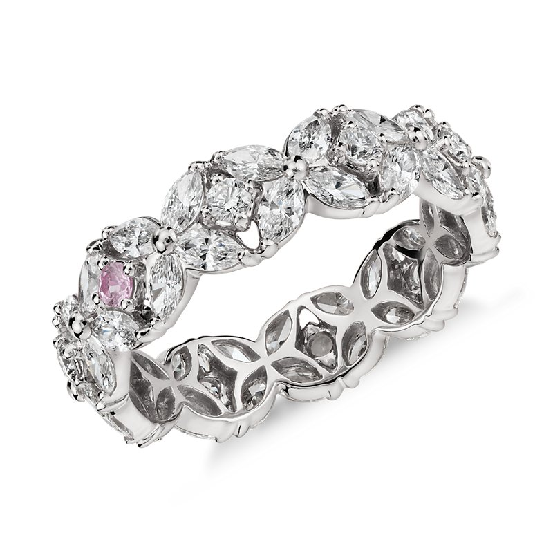 Monique Lhuillier Petal Garland Diamond Eternity Ring in Platinum