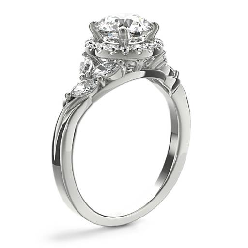 Monique Lhuillier Jardin Halo Diamond Engagement Ring
