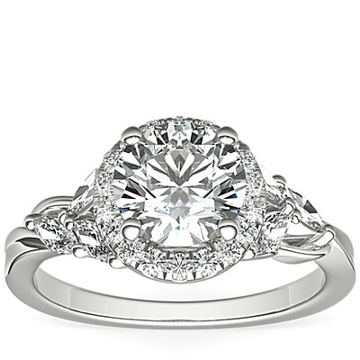 Monique Lhuillier Jardin Halo Diamond Engagement Ring in Platinum (3/8 ct. tw.)