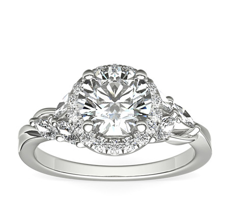 Monique Lhuillier Jardin Halo Diamond Engagement Ring in Platinum (2/5 ct. tw.)