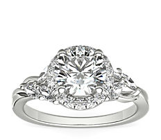 Monique Lhuillier Jardin Halo Diamond Engagement Ring in Platinum (3/8 ct. tw.)