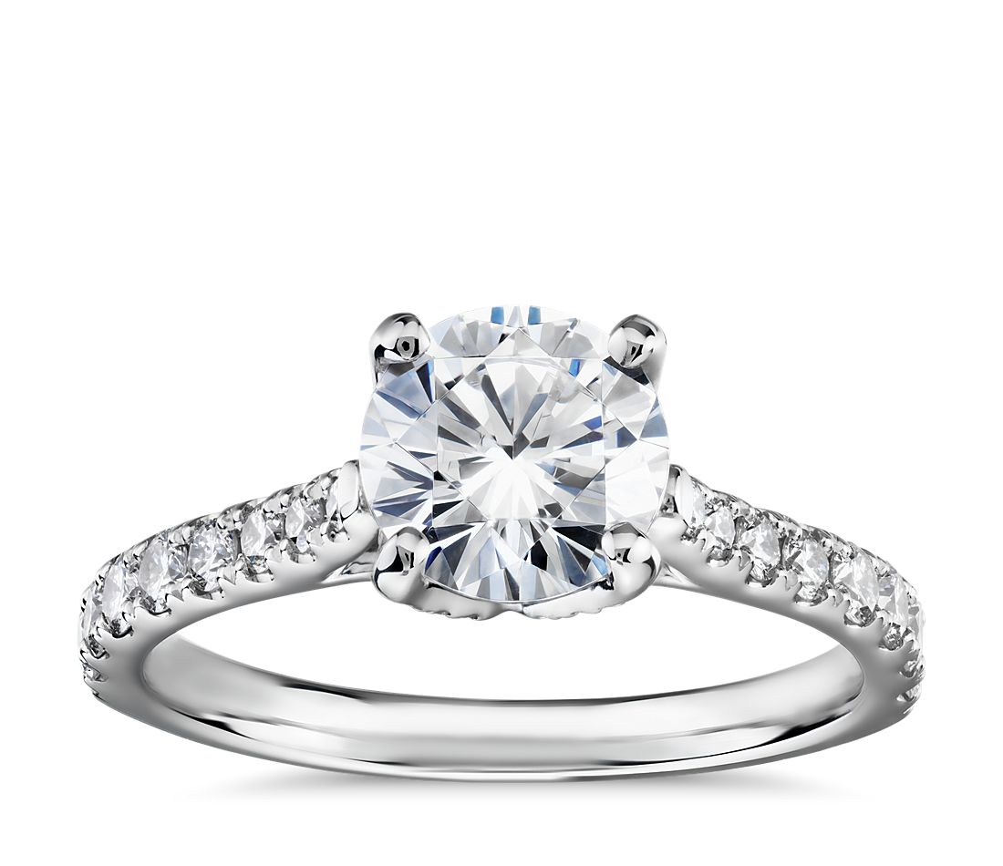 Monique Lhuillier Petal Pavé Diamond Cathedal Engagement Ring in Platinum (1/2 ct. tw.)