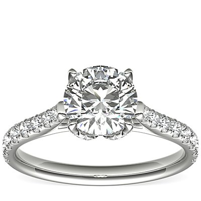 Monique Lhuillier Petal Pavé Diamond Cathedral Engagement Ring in Platinum (1/2 ct. tw.)