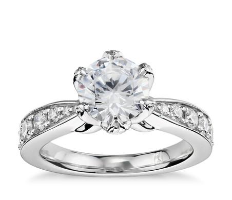 Monique Lhuillier Petal Pavé Diamond Engagement Ring in Platinum (1/2 ct. tw.)