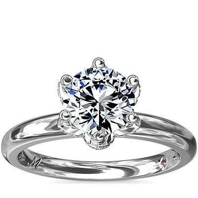 Monique Lhuillier Petal Solitaire Engagement Ring with Diamond Accents in Platinum