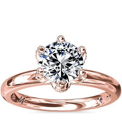Monique Lhuillier Petal Solitaire Engagement Ring with Diamond Accents in 18k Rose Gold