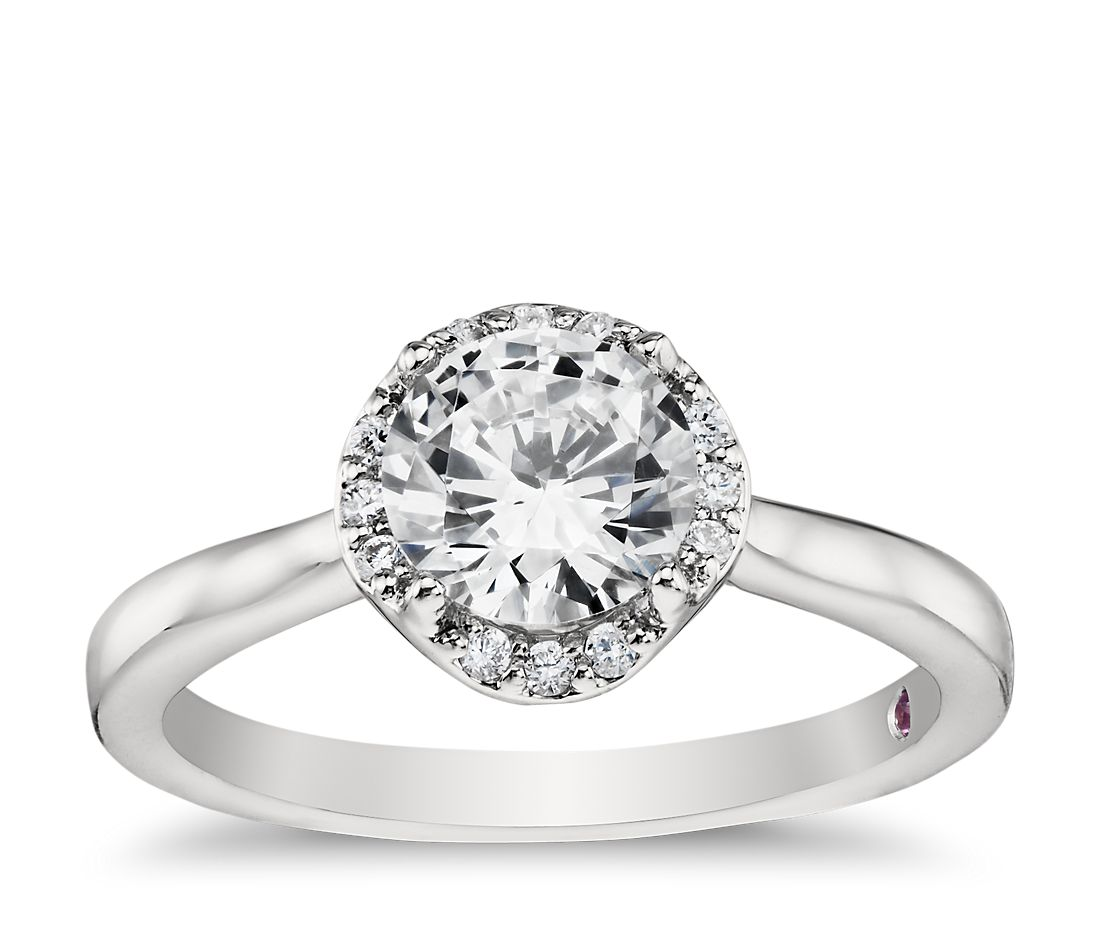 Monique Lhuillier Draping Halo Diamond Engagement Ring in Platinum
