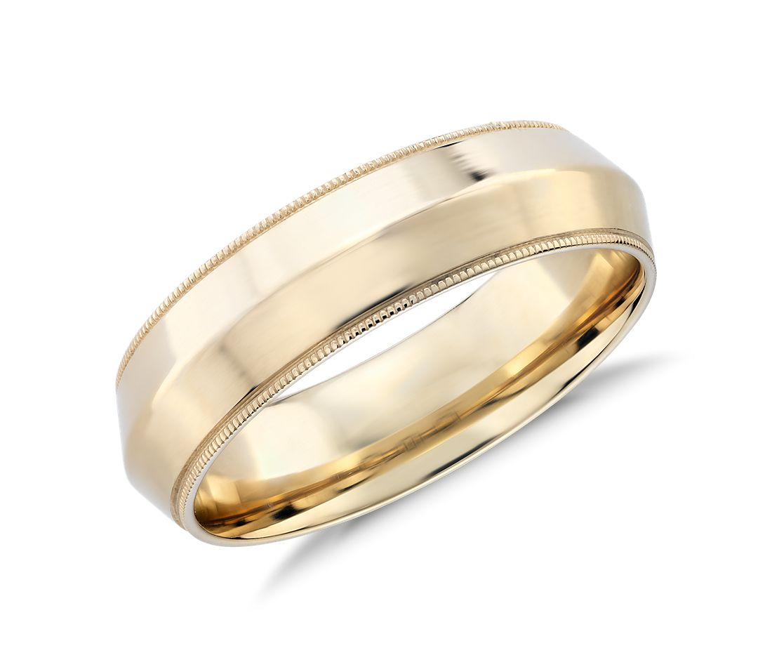 Monique Lhuillier Polished Knife Edge Milgrain Wedding Ring in 18k Yellow Gold (6mm)