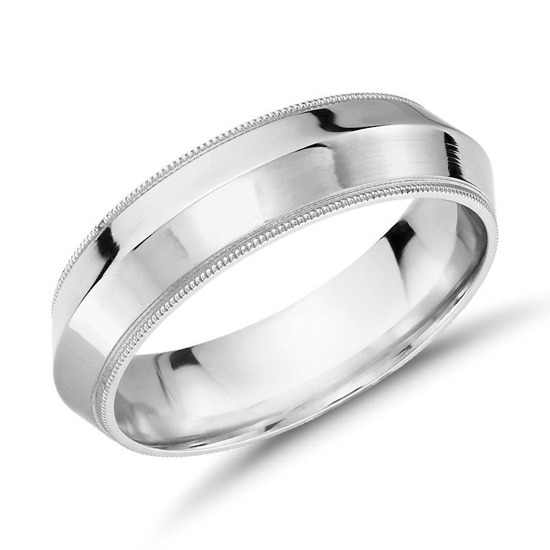 Monique Lhuillier Polished Knife Edge Milgrain Edge Wedding Ring