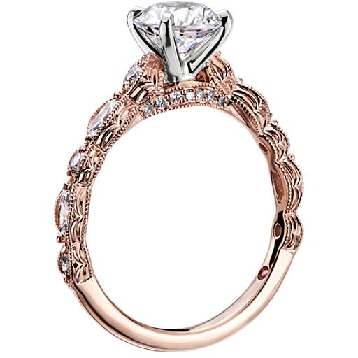 Monique Lhuillier Round and Marquise Engraved Diamond Engagement Ring