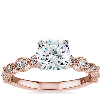 NEW Monique Lhuillier Round and Marquise Engraved Diamond Engagement Ring in 18k Rose Gold
