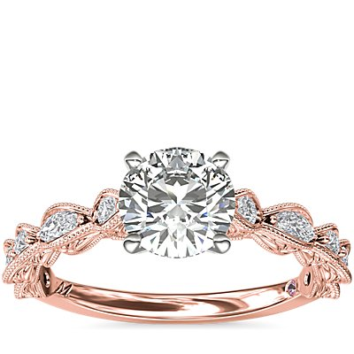 Monique Lhuillier Round and Marquise Engraved Diamond Engagement Ring in 18k Rose Gold