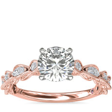 Monique Lhuillier Round and Marquise Engraved Diamond Engagement Ring in 18k Rose Gold (3/8 ct. tw.)