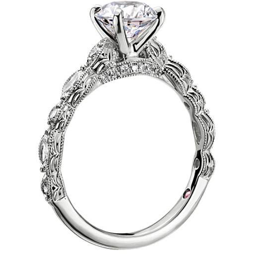 NEW Monique Lhuillier Round and Marquise Engraved Diamond Engagement Ring
