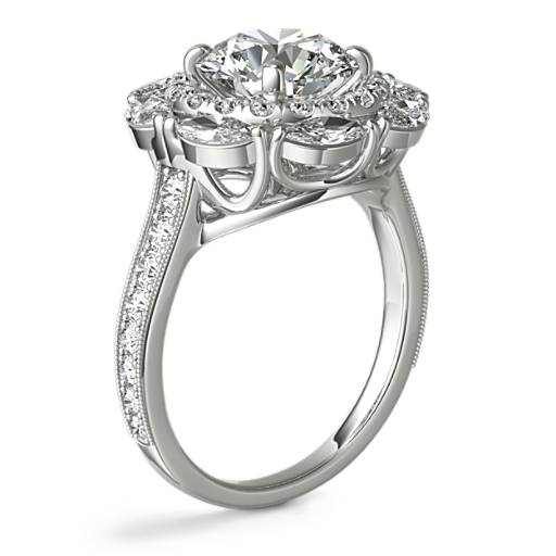 Monique Lhuillier Marquise Floral Halo Diamond Engagement Ring