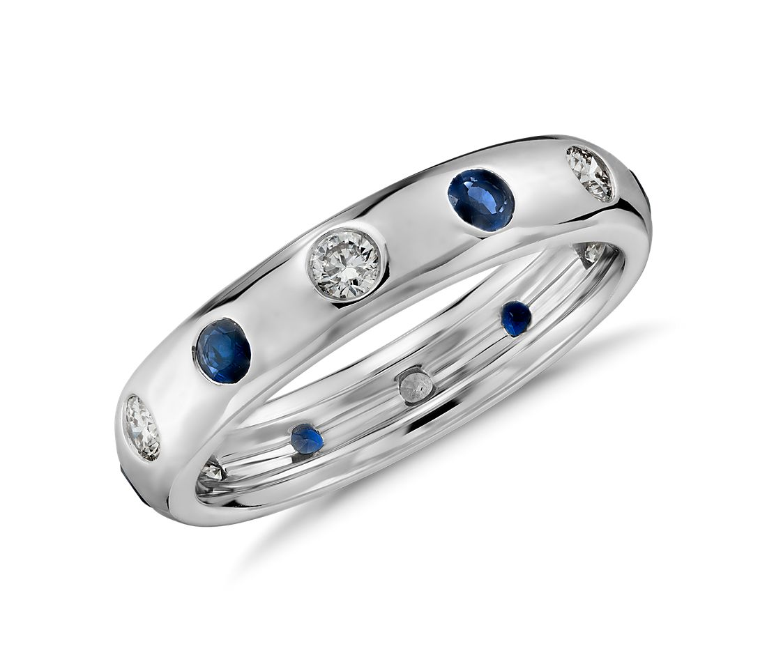 Monique Lhuillier Sapphire and Diamond Band in 18k White Gold