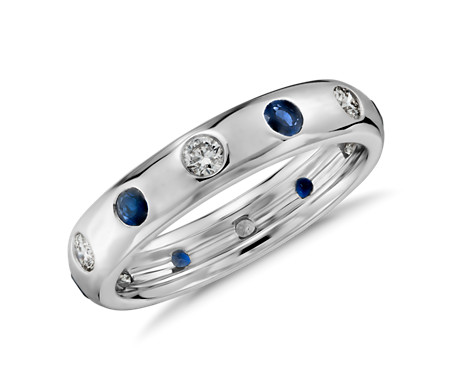 Monique Lhuillier Starlight Sapphire and Diamond Eternity Ring in 18k White Gold