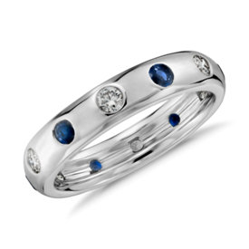 Alliance diamant et saphir bleu Starlight Monique Lhuillier en or blanc 18 carats
