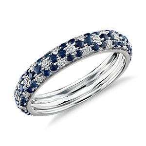 Monique Lhuillier Sapphire and Diamond Pavé Floral Band in 18k White Gold