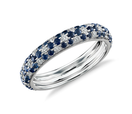 Monique Lhuillier Sapphire and Diamond Pavé Floral Eternity Ring in 18k White Gold