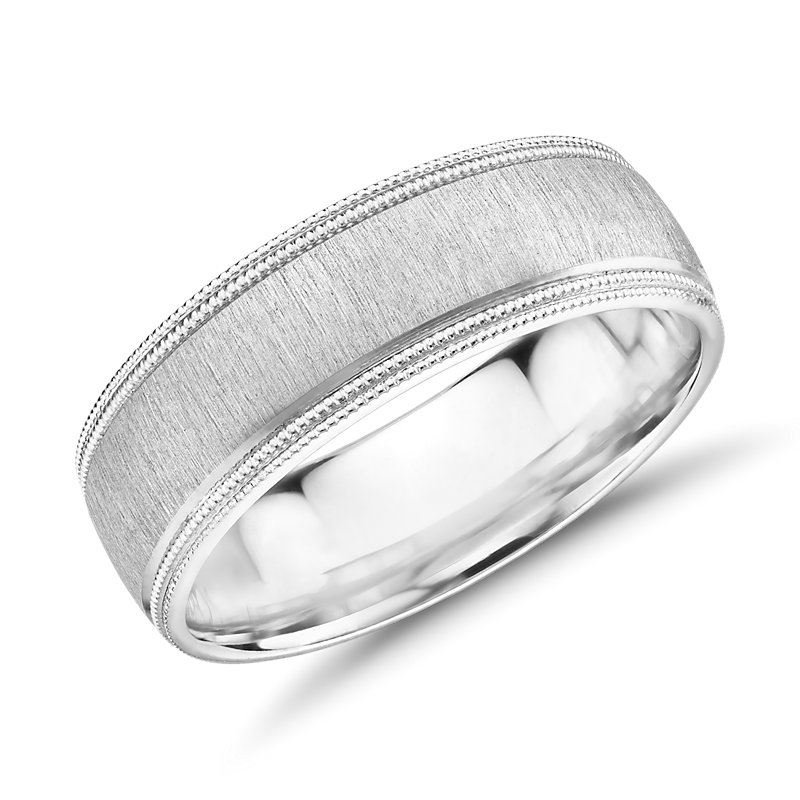 Monique Lhuillier Satin Double Milgrain Wedding Band in Platinum