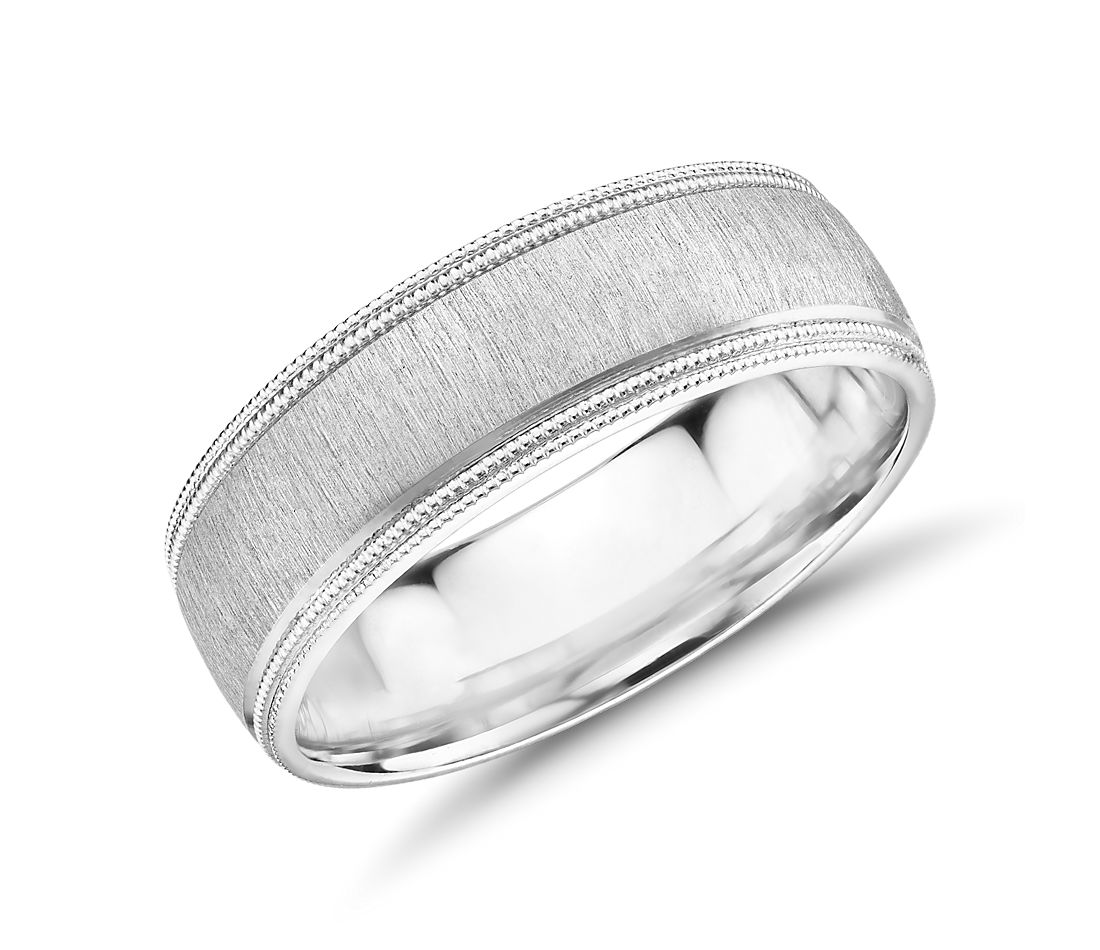 Monique Lhuillier Satin Double Milgrain Wedding Band in Platinum (7mm)