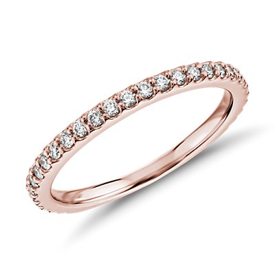 Bague en diamants sertis pavé à bords festonnés en or rose 18 carats Monique Lhuillier