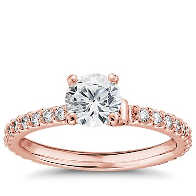 Monique Lhuillier Scalloped Pave Diamond Engagement Ring in 18k Rose Gold (3/8 ct. tw.)