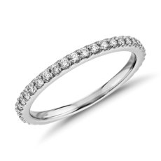 Monique Lhuillier Scalloped Pave Diamond Ring in Platinum