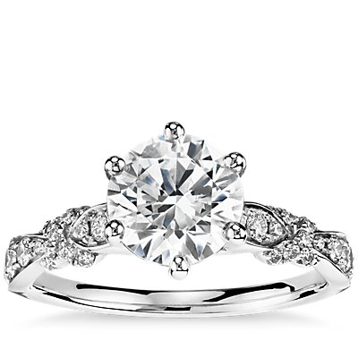 Monique Lhuillier Embellished Six-Claw Diamond Engagement Ring in Platinum