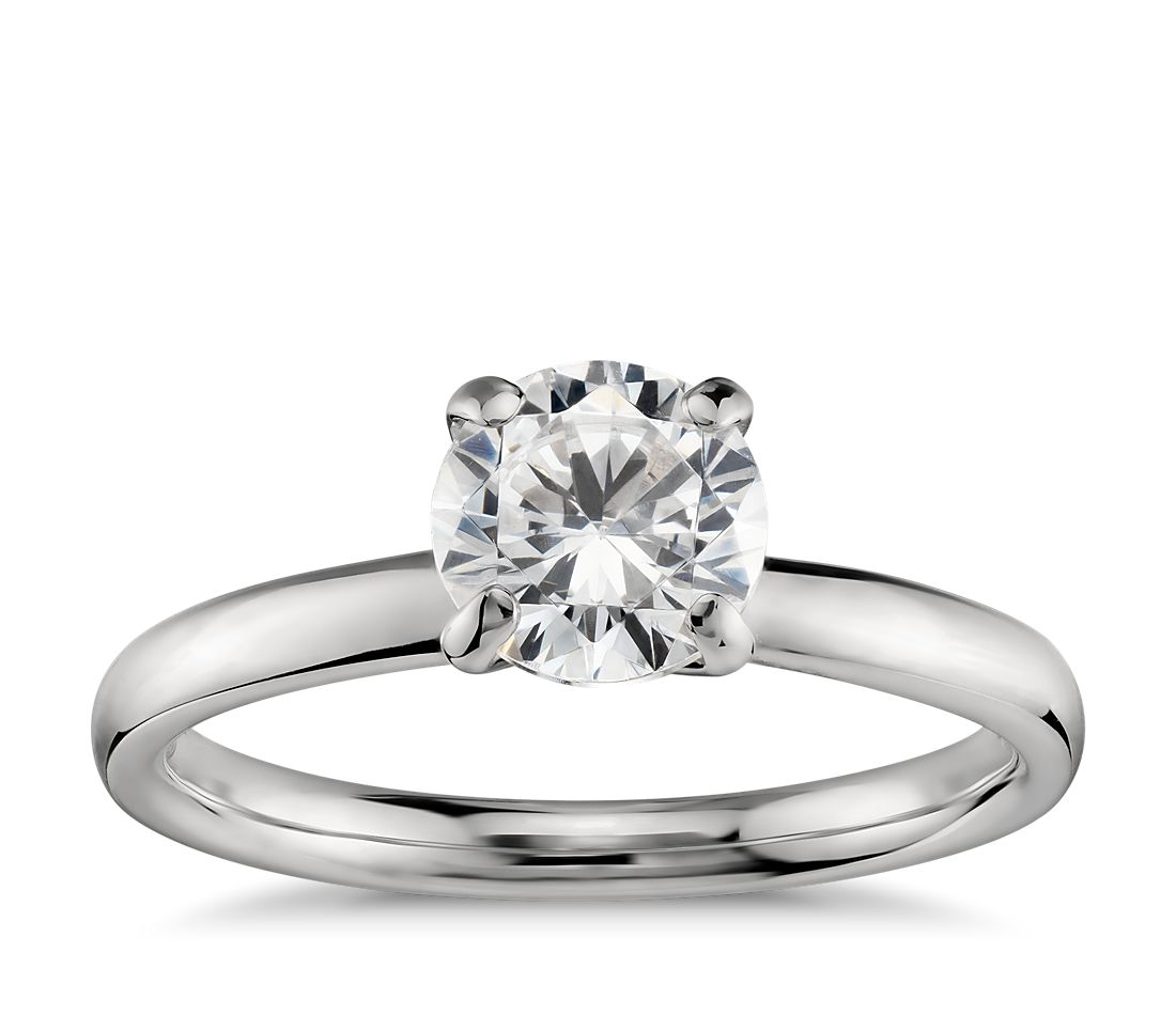 monique lhuillier amour solitaire engagement ring in platinum - Solitaire Wedding Rings