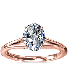 NEW Monique Lhuillier Siren Oval Solitaire Split Shank Engagement Ring with Diamond Details in 18k Rose Gold