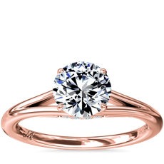 NEW Monique Lhuillier Siren Solitaire Split Shank Engagement Ring with Diamond Details in 18k Rose Gold