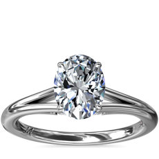 NEW Monique Lhuillier Siren Oval Solitaire Split Shank Engagement Ring with Diamond Details in Platinum