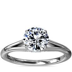 NEW Monique Lhuillier Siren Solitaire Split Shank Engagement Ring with Diamond Details in Platinum