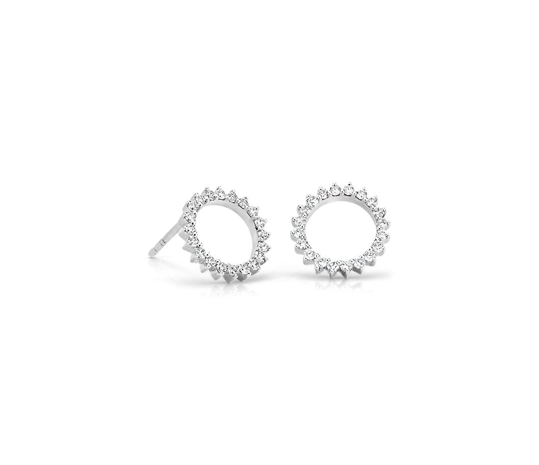 Monique Lhuillier Starburst Stud Earrings in 18k White Gold (1/5 ct. tw.)